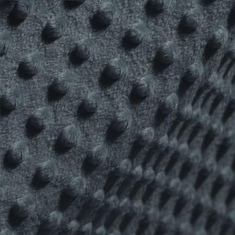 Tkanina MINKY z tłoczonymi kropkami 366-61 grafit jasny