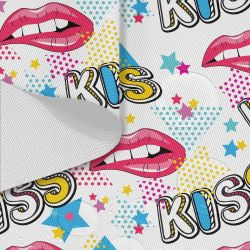 Tkanina wodoodporna OXFORD D434-196-02 KISS Usta Pop Art