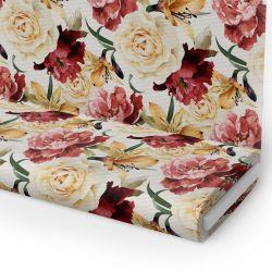 Tkanina STRECZ PANAMA D404-162 Kwiaty róży