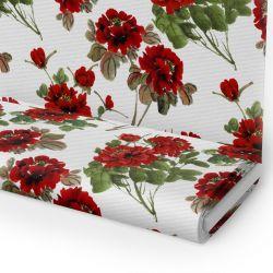 Tkanina STRECZ PANAMA D404-116 Czerwone Kwiaty