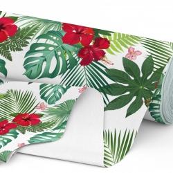 Tkanina wodoodporna OXFORD D434-153 Kwiaty w Liściach Palm