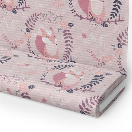 Tkanina STRECZ PANAMA D404-338-01 różowe lisy