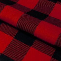 Tkanina FLANELA KRATA 437 czerwono-czarna