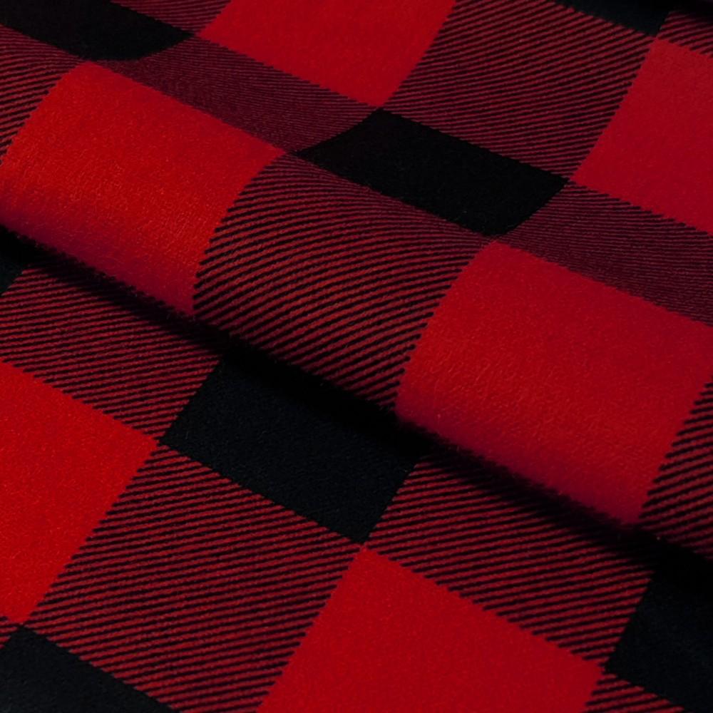 Tkanina Flanela Krata 437 Czerwono Czarna Sklep Internetowy Vistylpl
