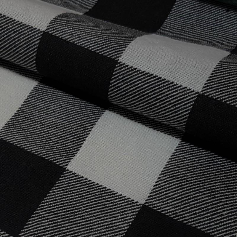 Tkanina FLANELA KRATA 437 biało-czarna