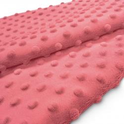 Tkanina MINKY z tłoczonymi kropkami 350g 795-32-09 koral
