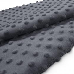 Tkanina MINKY z tłoczonymi kropkami 350g 795-22-33 szary ciemny