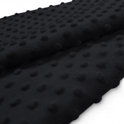 Tkanina MINKY z tłoczonymi kropkami 350g 795-26-34 czarny