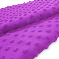 Tkanina MINKY z tłoczonymi kropkami 350g 795-08-18 fiolet jasny