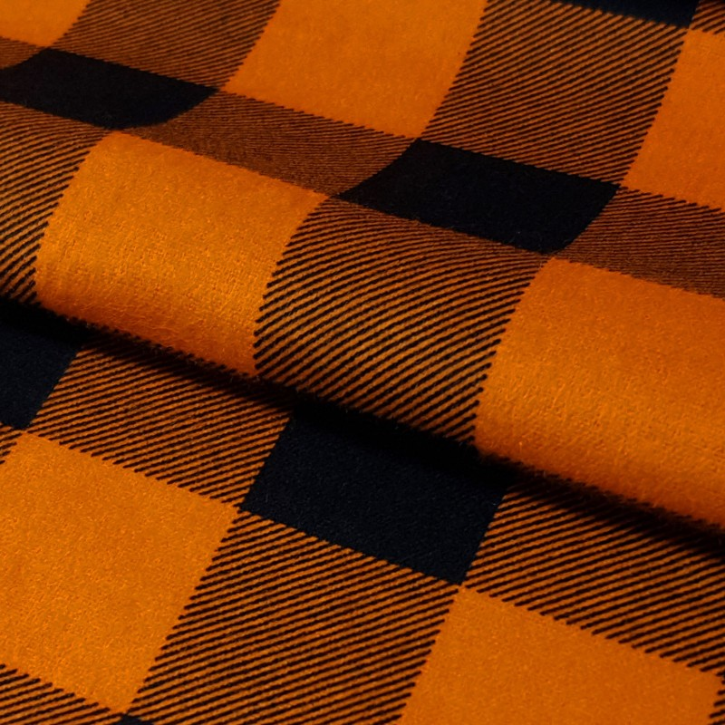 Tkanina FLANELA KRATA 437 czarno-pomarańczowa